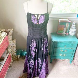 Boho Black & Purple Maxi Dress